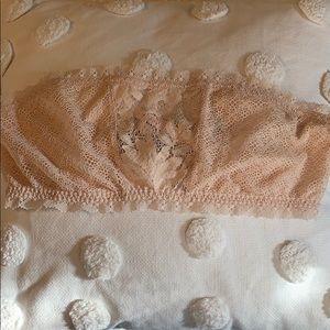 Victoria's Secret lace bandeau bralette nude sz L